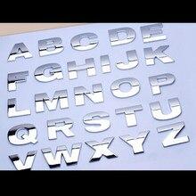 Autocollant de voiture argenté et noir, 1 pièce, lettres créatives 3D, emblème chiffres numériques, chiffres chromés, style de voiture, DIY bricolage, en métal