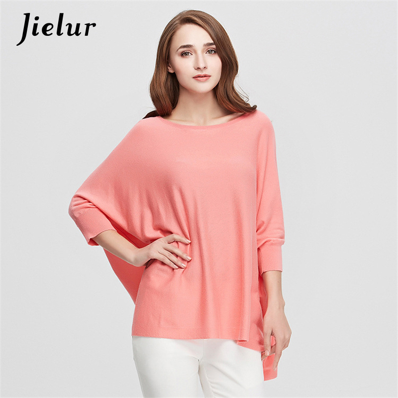 Autumn New Simple Loose font b Women s b font T shirts Pure Color Batwing Sleeve