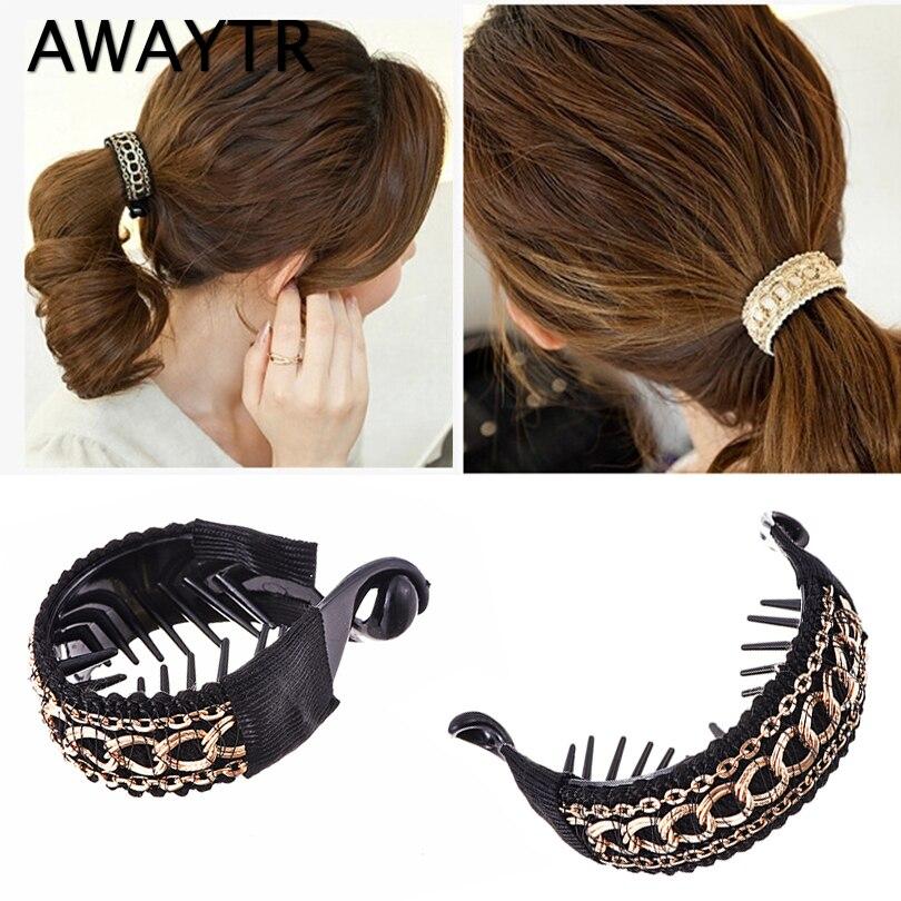 AWAYTR 2PCS Fashion Plastic Hair Claws For Women Hairclip Hairpin Hair Accessories For Girls Women Bezel Hair Rubber Headwear