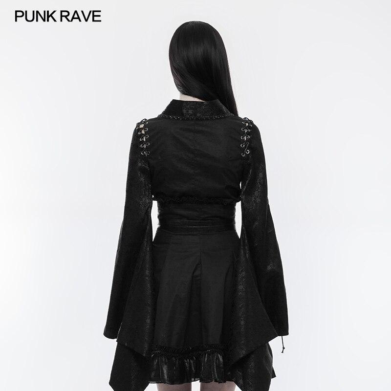 Pin Partie De Rave Longues Top Punk Jacquard Wy855 Cou up Mode Noir Fille Japonais V Style Manches Chemise Rétro Odd4q8wPx