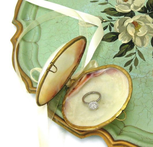 Seashell clam ring holder with White Ribbon ring bearer seashell
