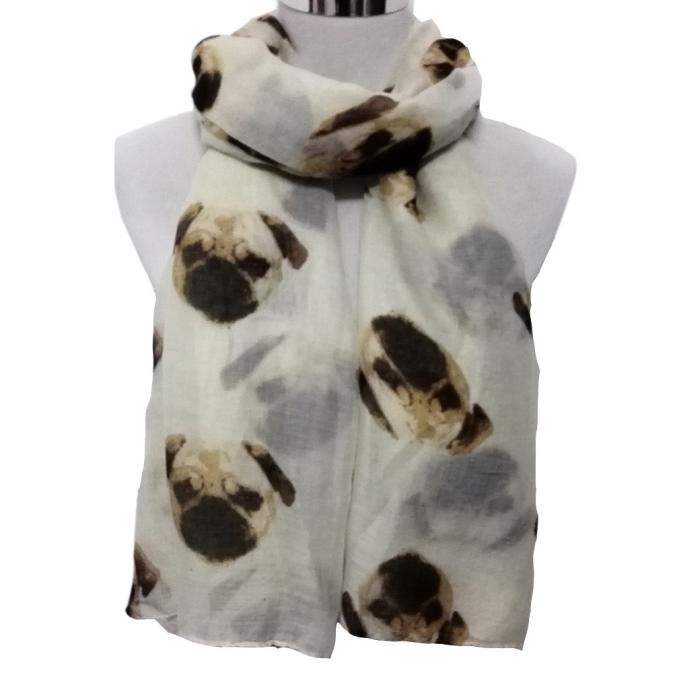 Lady Women's Long Cute Pug Dog Print Scarf Wraps Shawl Daily Soft Fashion Female Scarves In Seven Colour In Autumn And Winter