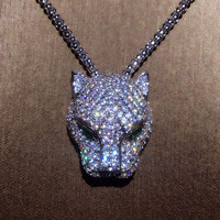 New Pure 925 Sterling Silver Fashion zircon Leopard Necklace Party Jewelry Luxurious White Gold Leopard head Sweater chain