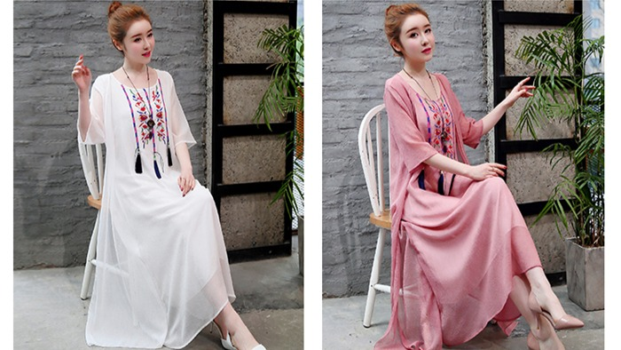 2019 New Cotton Linen Casual 2 Pieces Women Dresses Slim Sleeveless Dress And Cardigan Summer Embroidery Chinese Style Dress 18