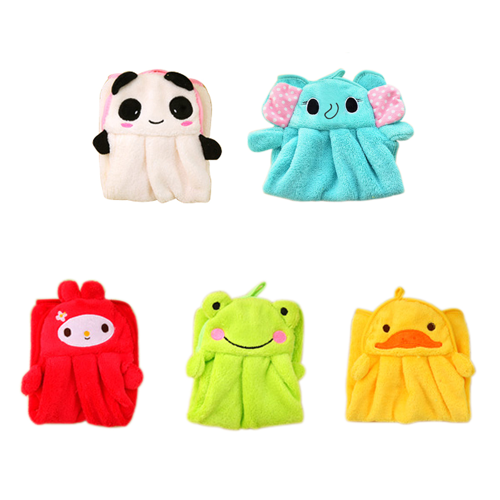 2018 New Ctue Eco-friendly Candy Colors Soft Coral Velvet Cartoon Animal Handkerchief Towel Can Be Hung Kitchen Bathroom Useused