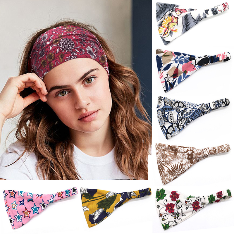 Bohemia BOHO Wide Cotton Stretch Women Headbands Headpiece Headwrap Turban Headwear Bandage Hair Bands Bandana
