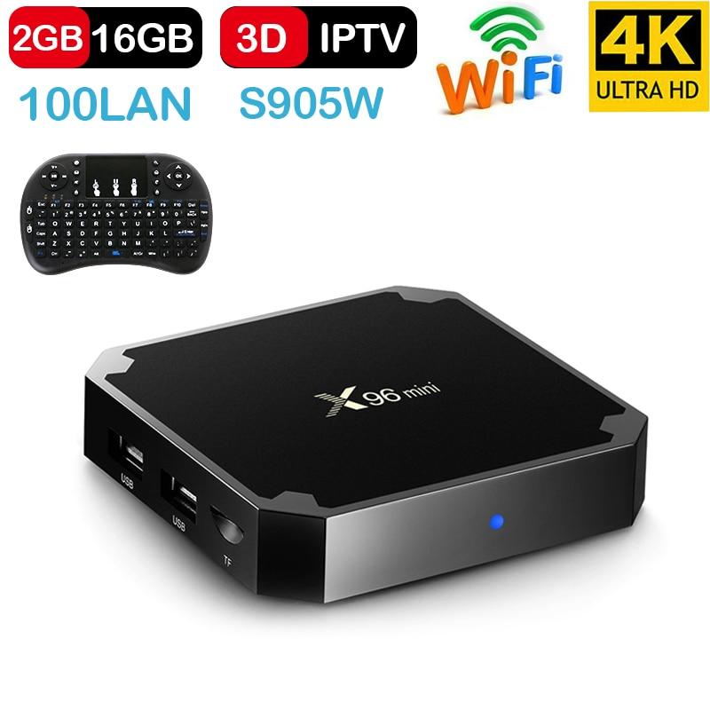 X96 Android 7,1 TV Box WiFi S905W smart tv box android 2 GB ram Quad Core Set-top caja reproductor multimedia 4 K de tvbox X 96