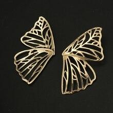 Docona Trendy Hollow Butterfly Drop Dangle Earring for Women Metal Large Wing Pendant Statement Jewelry Oorbellen 6218