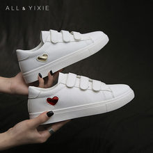 ALL YIXIE 2019 Fashion White Sneakers Woman Summer Autumn Velcro Leather Shoes Women Flats Casual Womens Platform
