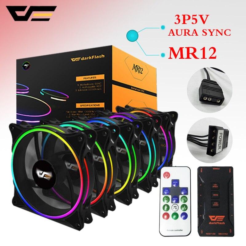 Aigo MR12 RGB fan 3P-5vAURA SYNC Computer Case PC Cooling Fan  LED 120mm Quiet +IR Remote new computer Cooler Cooling  Fan rockspace eb30