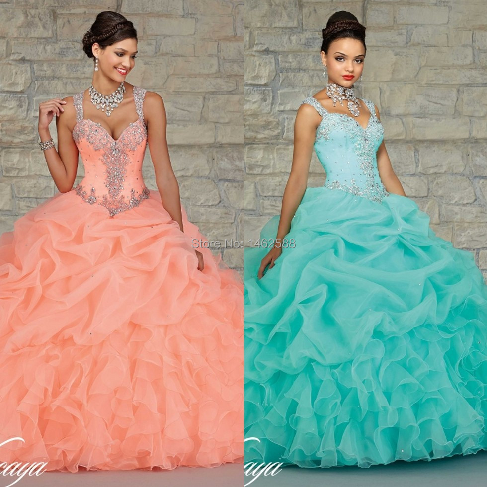 Gorgeous Beaded Straps Sweetheart Organza Layered Coral Mint ...