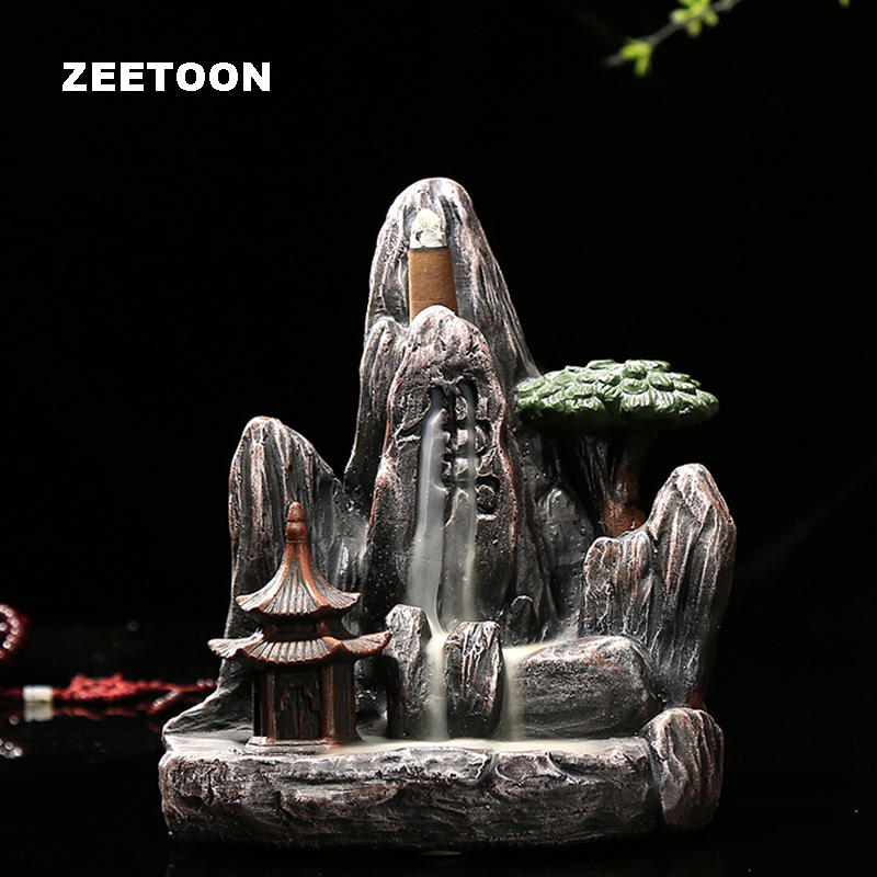 Creative home Feng Shui Decoration  smoke cersen ceramic Stone Buddha word Mountains and rivers blackflow incense burnerCreative home Feng Shui Decoration  smoke cersen ceramic Stone Buddha word Mountains and rivers blackflow incense burner