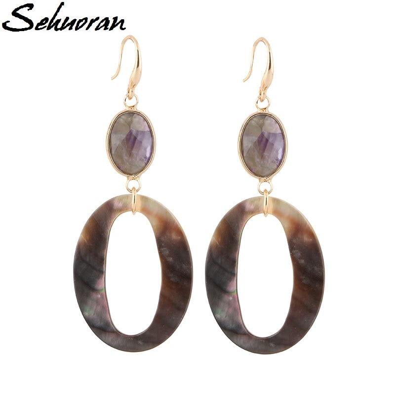 Sehuoran Dangle σκουλαρίκια για γυναίκα από φυσική πέτρα και ωκεανού κέλυφος Bohemia σκουλαρίκια δήλωση κοσμήματα δώρα