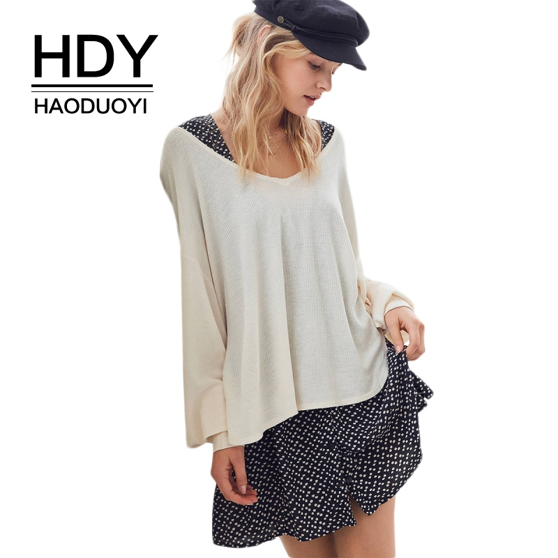 HDY Haoduoyi Women Draped V Neck Tee <font><b>White</b></font> Casual Loose <font><b>T-shirt</b></font> Fashion Balloon Sleeve Top <font><b>Ribbed</b></font> <font><b>Side</b></font> <font><b>Slit</b></font> Oversized Shirts