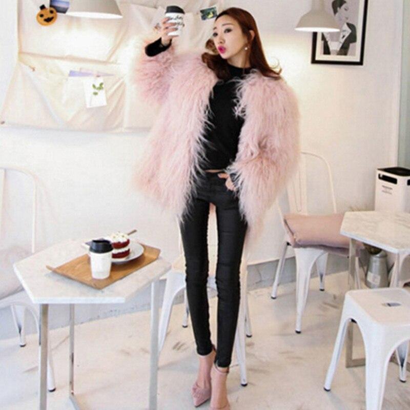 Kadın Giyim'ten Yapay Kürk'de 2016 Pembe Sahte Koyun Kürk Ceket 4 inç Uzun Tüylü Uzun kollu Tüylü Dış Giyim Kadın Sonbahar Kış sıcak Orta uzun ceket Tops'da  Grup 1