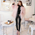 2016 Pink Faux Sheep Fur Coat 4 inches Long Hairy Long sleeve Shaggy Outwear Women Autumn Winter Warm Mid long Coat Tops