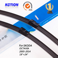 "Car Windshield Wiper Blade Para Skoda OCTAVIA (2005-2014), 19 ""+ 24"", borracha Natural, bracketless limpa, Acessórios do carro"