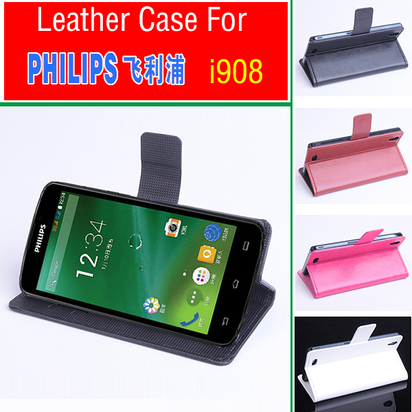 For PHILIPS i908 case cover wallet, Good Quality Leather Case+ hard Back cover For PHILIPS i 908 cellphone