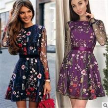 все цены на 2019 Vestidos De FestaSexy Women Floral Embroidery Dress Sheer Mesh Summer Boho Mini A-line Dress See-through Black Dress онлайн