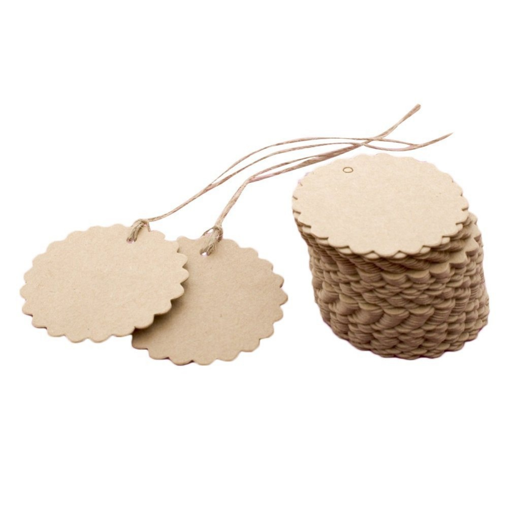 Scrapbook paper aliexpress - 100pcs Scrapbooking Round Laciness Brown Diy Paper Craft Blank Hang Tags Crafts Wedding Postcards Gift Tag