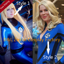 Free Shipping DHL Adult Fantastic Four Lycra Spandex And Shiny Metallic Superhero Zentai Catsuit Dress Halloween Costume