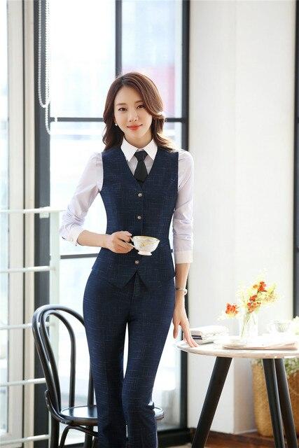 88db7a248e6f Uniform Designs Formal Professional Women Business Suits With Tops and Pants  Vest Coat & Waistcoat Trousers Sets Pantsuits