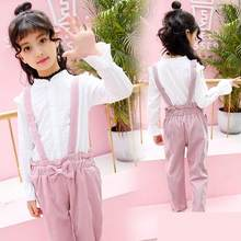 Toddler Girls Outfits Pants 2019 Spring Girls Clothes Kids Sets Girls Clothing Set Children Suits White Blouses Tops + Jumpsuits(China)