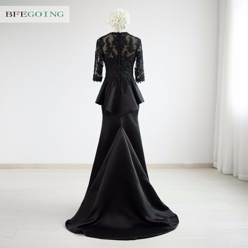 Black Tulle Satin Mermaid /Trumpet  Formal Evening Dress Court Train  3/4 Sleeves Beading  Real/Original  Photos Custom made