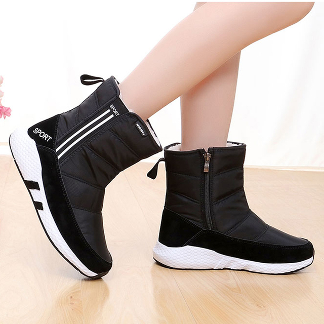 Women snow boots 2018 thick plush winter shoes ankle boots non-slip waterproof women boots black