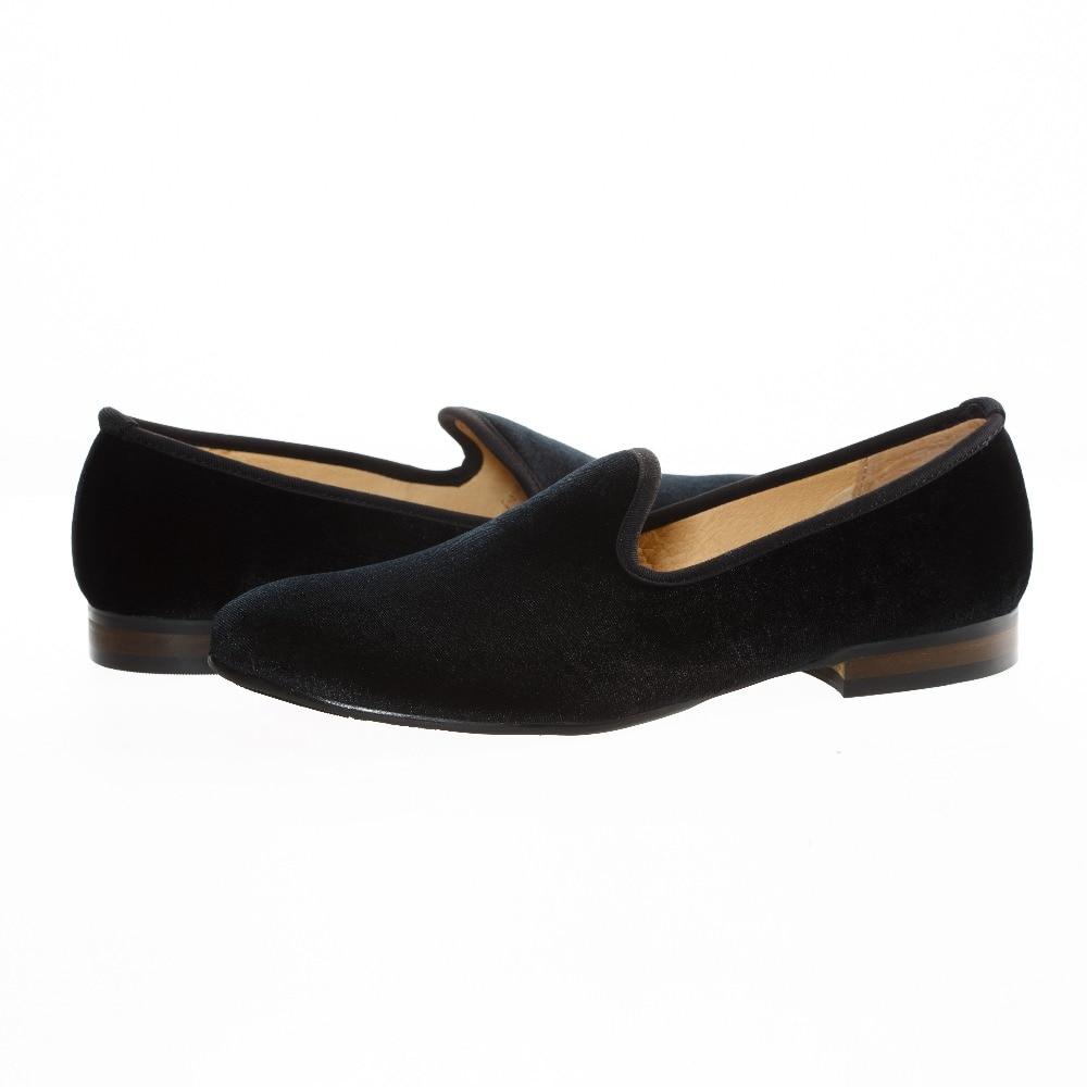 Купить с кэшбэком New Fashion Plain Black Velvet Loafers Men Dress Shoes Slip On Smoking Slippers Men's Flats Wedding and Party Shoes Size US 7-13
