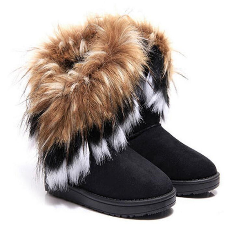 Women Flats Ankle Snow Boots Fur Boots Winter Warm Snow Shoes woman Round toe Female Flock Leather Women Shoes 36 42 in Ankle Boots from Shoes