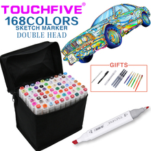 TouchFive Art Sketch Markers Set Brush Pen For Draw Manga Animation Design 168 Color Dual Headed Alcoholic Oily Based Ink Marker touchfive 36 48 60 72 colors artist double headed marker set oily alcoholic sketch art markers pen for animation manga design