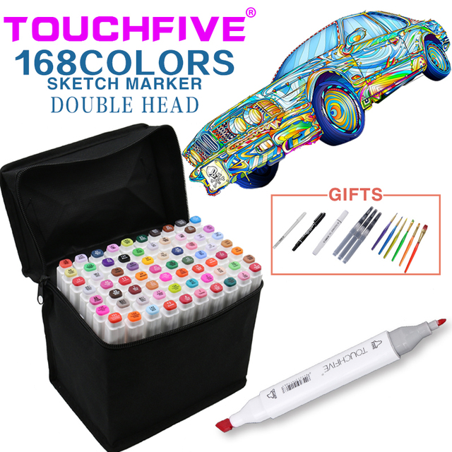TouchFive Art Sketch Markers Set Brush Pen For Draw Manga Animation Design 168 Color Dual Headed Alcoholic Oily Based Ink Marker