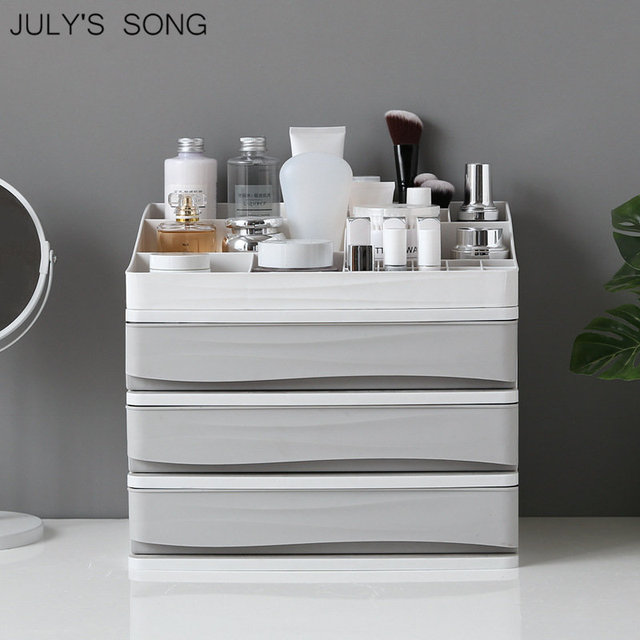 JULY'S SONG Plastic Cosmetic Drawer Organizer Makeup Storage Box Makeup Container Nail Casket Holder Desktop Sundry Storage Case