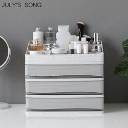 JULY'S canción de plástico cosmética cajón de maquillaje organizador caja de almacenamiento de maquillaje contenedor uñas ataúd Escritorio de varios caja de almacenamiento