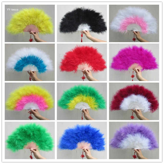 1Pcs Elegant White Marabou Feather Hand Fan Costume Fun Act Burlesque Decor Dancing Carnival Show Turkey feather fan and Costume