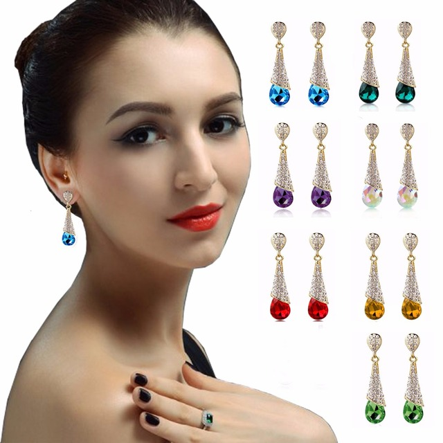 Fashion Brand Alloy Gold Plated Statement Austria Blue Crystal Long Earrings Rhinestone Water Drop Elegant Earring Jewelry