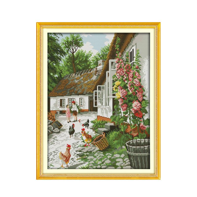 Farmers yard chicken flocking hand-embroidered Chinese characteristics cross stitch suite rural life landscape paintings