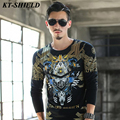 New listing autumn brand designer printed t shirts men long-sleeved fashion hip-hop t-shirt homme cotton casual tops men t shirt