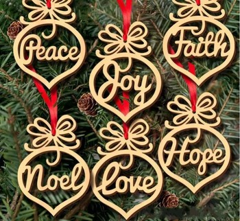 Christmas letter wood Heart Bubble pattern Ornament Christmas Tree Decorations Home Festival Ornaments Hanging Gift 6 pc per lot