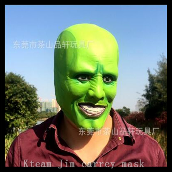 Top Grade 100% Latex MovieThe Mask Jim Carrey Latex Masks Scary Funny Movie Clown Mask Cosplay for Halloween Party Free size image
