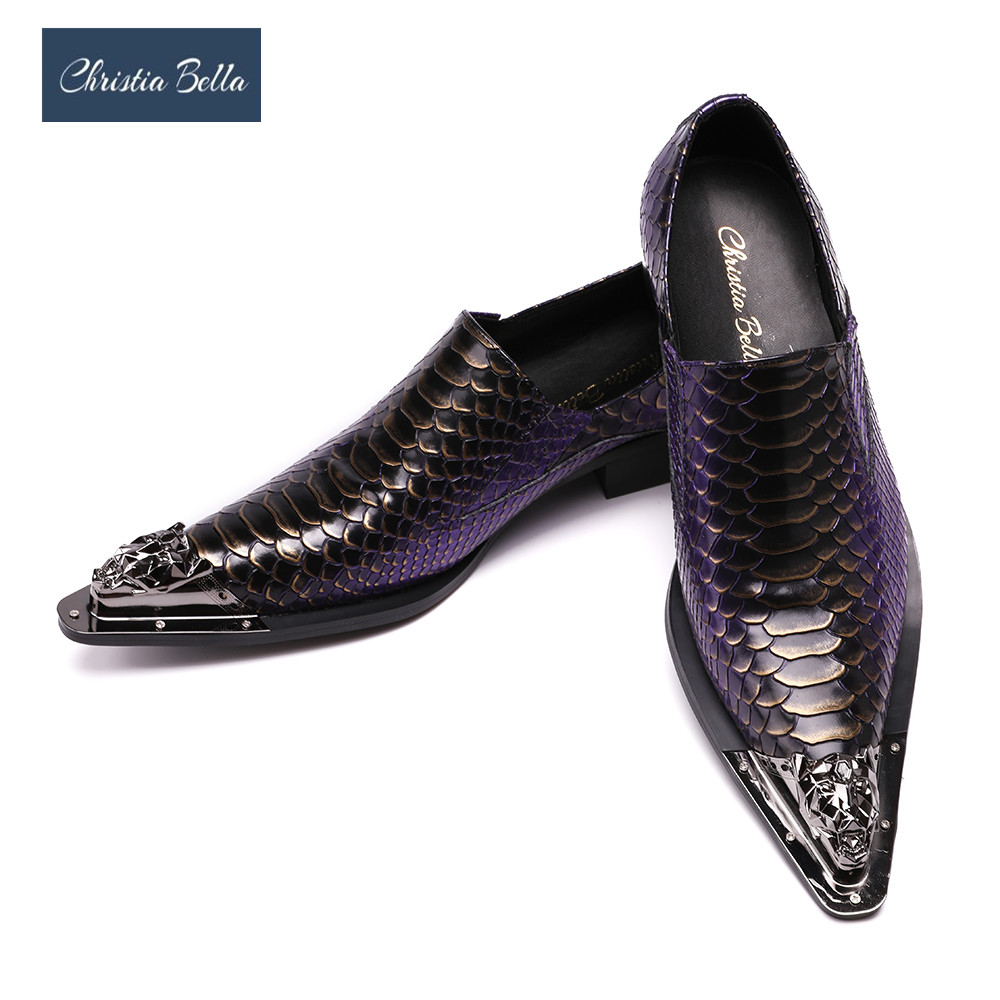 Christia Bella Men Dress Shoes Luxury Brand Slip On Wedding Shoes with Metal Pointed Toe Men Snake Pattern Chaussure Homme luxury fashion men crystal flats metal pointed toe huarache slip on wedding shoes man 36 46 chaussure homme sapato masculino