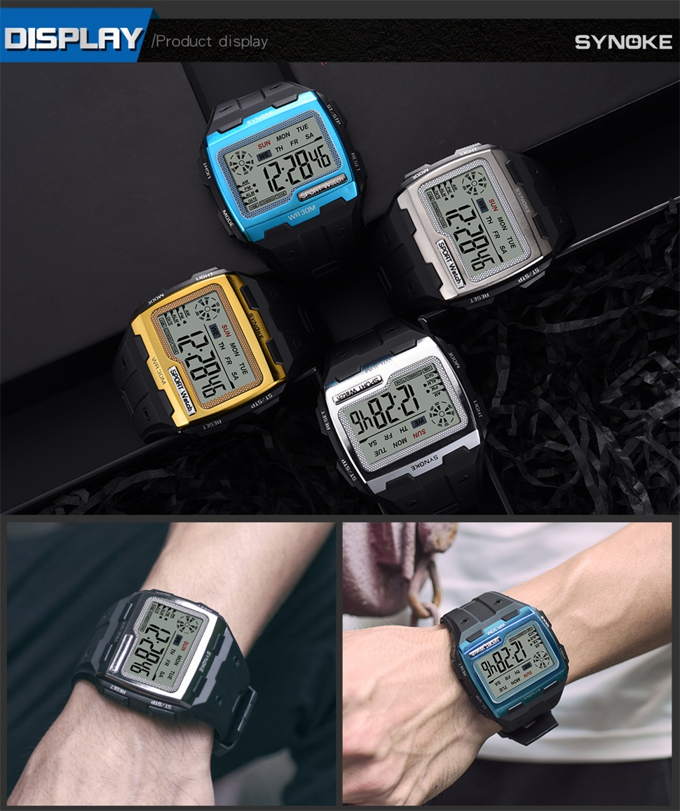 SYNOKE Gold Digital Watch Big Screen Mens 39 S Watches Cool Electronic Alarm Shock Resistant Strong Sport Watch
