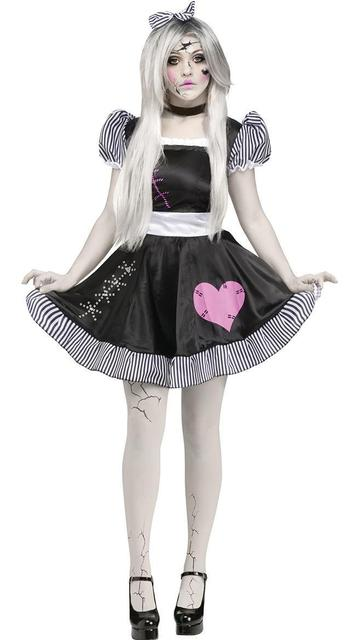 b99491d638 2018 New Porcelain Doll Costume Adult Women Cosplay Halloween Circus Clown  Costume
