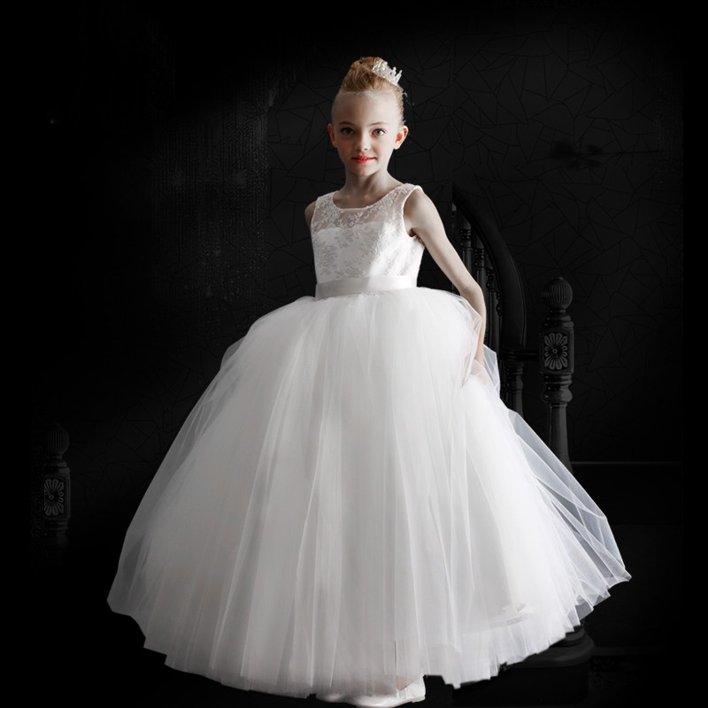 Pretty White   Flower     Girl     Dresses   For Weddings 2019 Sleeveless Lace Applique Tulle Pageant Gowns   Girls   Communion   Dress   Customize