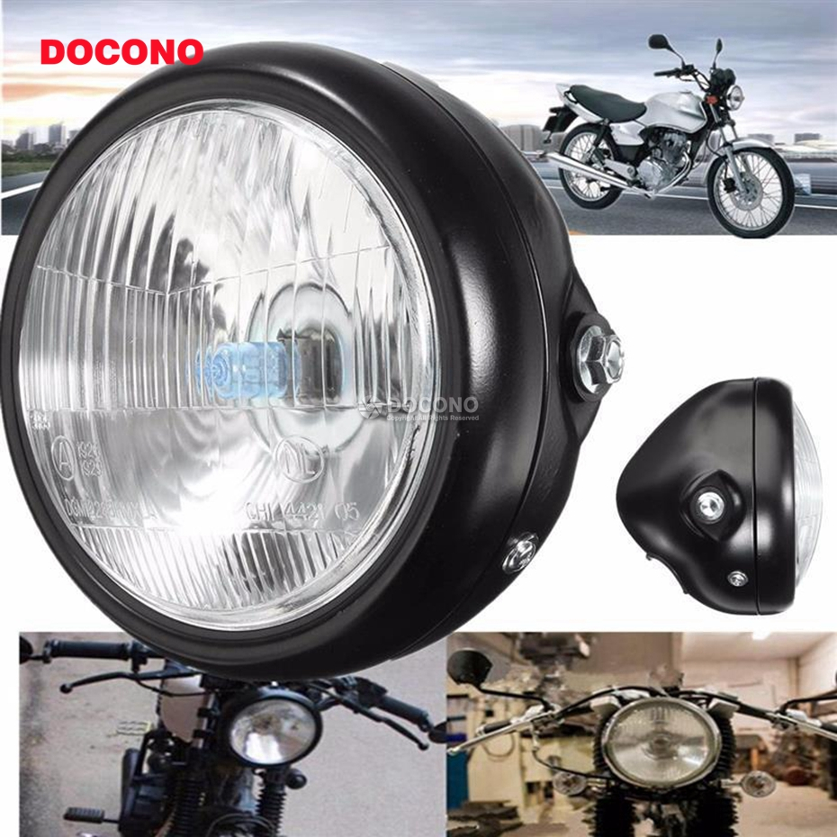 Retro Motorcycle Modified Universal Cafe Racing Headlights Decorative Metal Far and Near Lights Chrome+Amber Lens