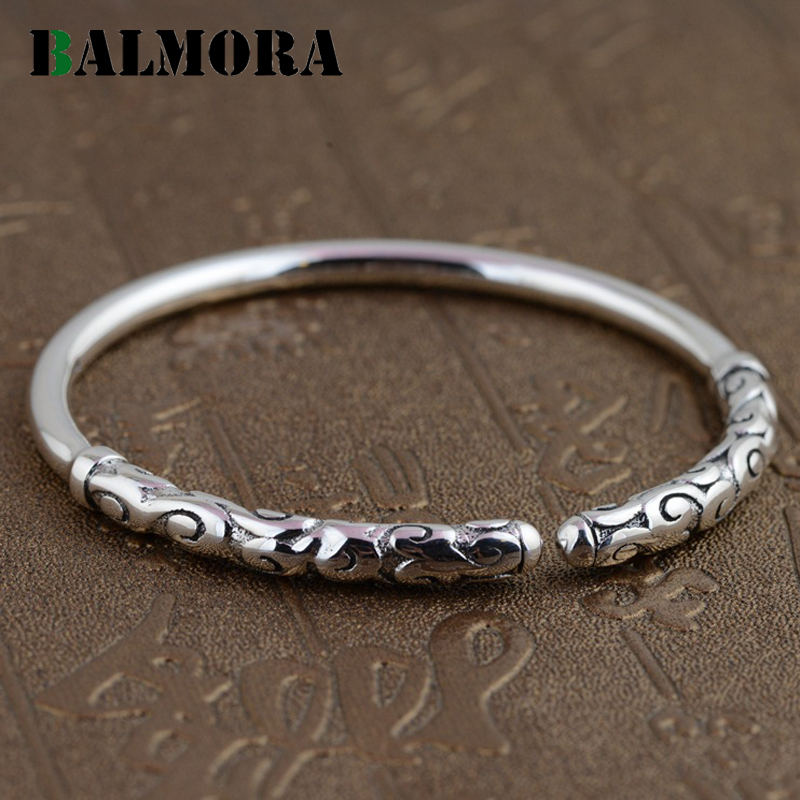 BALMORA 990 Pure Silver Round Open Bangles for Women Men Jewelry Simple Fashion Bracelets Accessories High Quality SZ0146 drop shipping high quality natural green dongling jades bangles bracelets round bangles gift for fashion elegant women jewelry