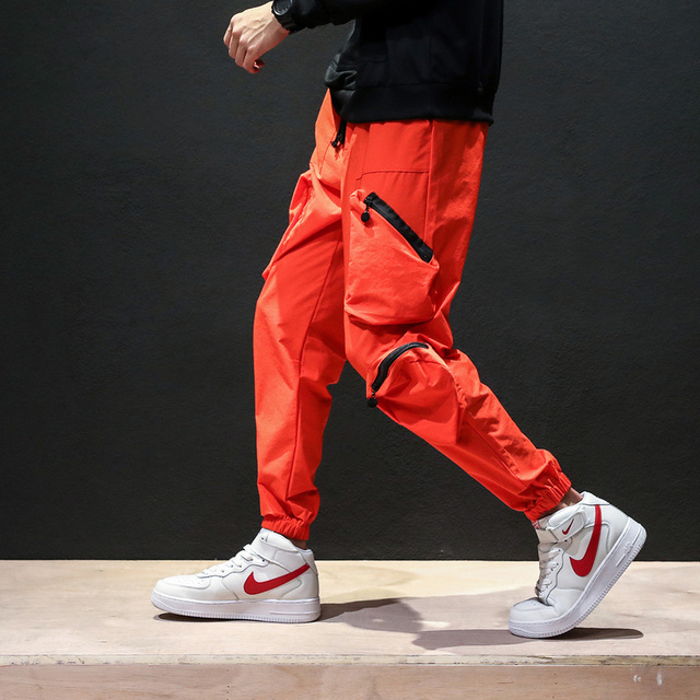 d9b2137845c Hot Fashion Orange Cargo Pants Men Hip Hop Sweatpants Pockets Casual Joggers  Unisex Harajuku Streetwear Sportswear Plus Size 5XL