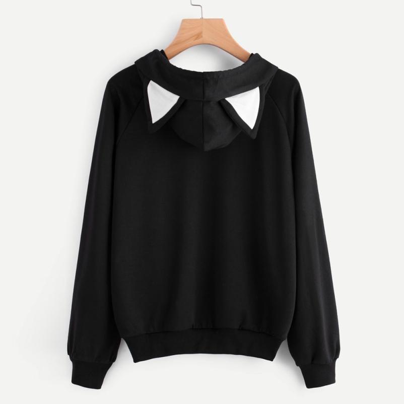 Feitong Hoodies Sweatshirt Womens Fashion Autumn Lovely Cat Printed Long Sleeve Sweatshirt Hooded Pullover Tops sudadera mujer