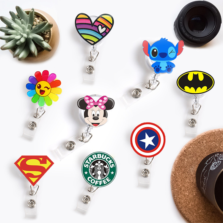 New Quality Retractable Nurse Badge Reel Clip Cute Cartoon Super Hero Coffee Mickey Fashion Students ID Card Badge Holder